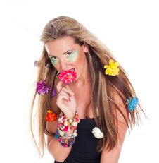 Beautiful  Woman With Flowers In Hair Royalty Free Stock Photo