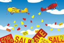 Free Two Airplanes With Banners Royalty Free Stock Photography - 20645197