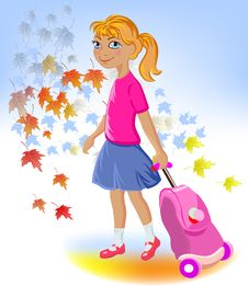 Free School Girl With Bag Royalty Free Stock Images - 20645449
