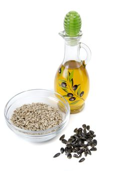 Oil And Sunflower Seeds Stock Image