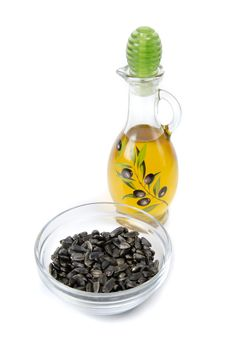 Oil And Sunflower Seeds Stock Photography