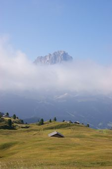 Dolomites In A Misty Morning Royalty Free Stock Photography