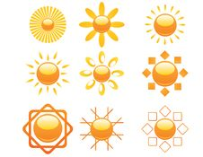 Free Set Of Sun Icons Stock Photography - 20646312