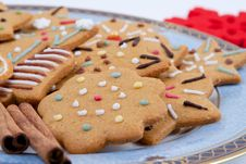 Christmas Multicolored Gingerbreads Stock Photos