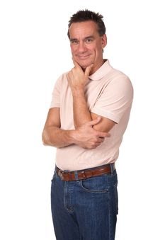 Portrait Of Attractive Smiling Thoughtful Man Royalty Free Stock Image