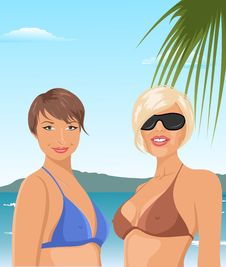 Free Two Girls On The Beach Royalty Free Stock Photography - 20647087