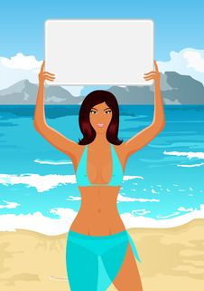 Free Girl In Bikini With Banner On The Beach Royalty Free Stock Images - 20647089