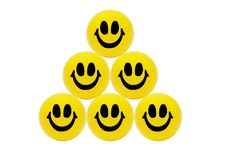 Pyramid Of Smiling Yellow Balls Stock Image
