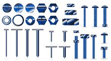 Free Set Of Blue Screws And Nails Royalty Free Stock Image - 20648716