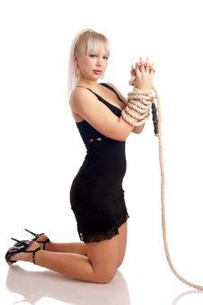 Sexual Girl In The Erotic Black Dress Stock Photos
