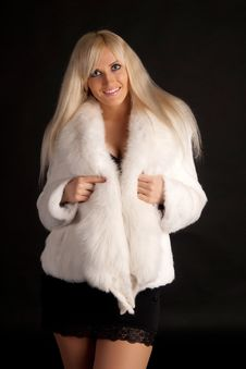 Free The Beautiful Blonde In A White Fur Coat Stock Image - 20649411