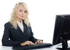Free The Young Girl Behind The Computer Stock Photography - 20649602