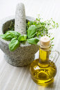 Free Mortar And Herbs, Still Life. Stock Photography - 20655322