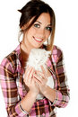 Free The Girl With A White Kitten Royalty Free Stock Photos - 20655838