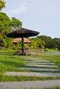 Free Stone Walkway And Wooden Bridge In Garden Stock Images - 20655884