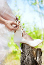 Free Bride Lacing White Shoes Stock Images - 20656124