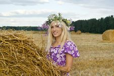 Smiling Farm Blondy Girl Royalty Free Stock Photography