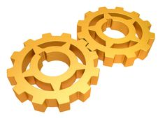Free Two Gold Gears Isolated On A White Background Stock Photo - 20652600