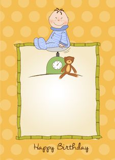 Free Little Boy Anniversary Card With Scale Royalty Free Stock Photos - 20653658