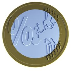 Free Euro Coin With Percent Stock Photo - 20653780