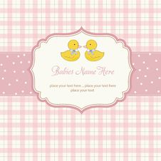Free Babies Twins Shower Card Royalty Free Stock Photo - 20654375