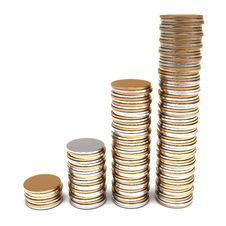 Free Golden And Silver Coins Stacks Royalty Free Stock Photos - 20655248