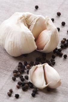 Garlic And Pepper. Stock Photos