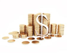 Free Columns Of Golden Coins With Symbol Fo Dollar Royalty Free Stock Image - 20655616