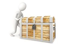 Free Man Pushing A Pirate Chest Stock Image - 20655671
