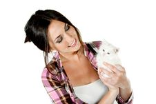 Free The Girl With A White Kitten Royalty Free Stock Image - 20655846