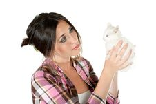 Free The Girl With A White Kitten Royalty Free Stock Photos - 20655858