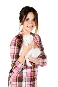 The Girl With A White Kitten Royalty Free Stock Image