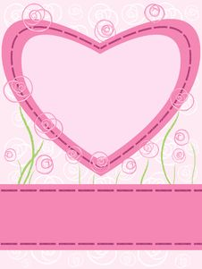 Card With Heart And Roses Stock Images