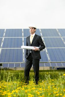 Free Engineer At Solar Power Station Royalty Free Stock Image - 20656546