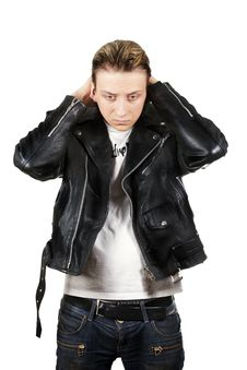 Free Young Depressed Man In Black Leather Royalty Free Stock Photos - 20656568