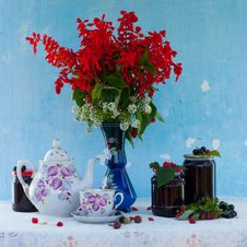 Free Still Life With Flowers And Berry Jam Stock Image - 20656591