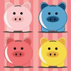 Free Piggy Bank, Four Pigs Stock Images - 20657264