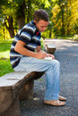 Free Man Speaking On Telephone In The Park Royalty Free Stock Photo - 20664695
