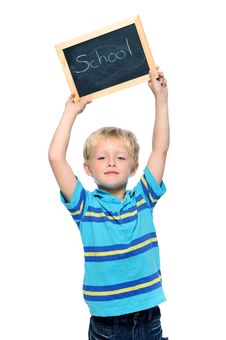 Free Boy Holds Chalk Board Stock Images - 20660894