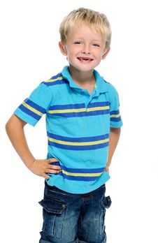 Blonde Boy In Studio Stock Photography