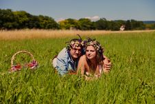 Happy Couple With Flower S Crown Stock Photos