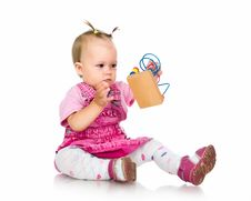 Small Baby With Developmental Toy Royalty Free Stock Photos