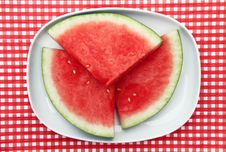 Free Watermelon Slices On Dish Stock Photography - 20663272