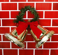 Free Gold Christmas Holiday Bells With Red Bow Royalty Free Stock Photo - 20663285