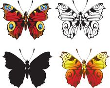 Set Of Decorative Butterflies Royalty Free Stock Image