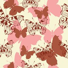 Free Seamless Background With Butterflies Stock Photography - 20664852