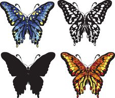 Set Of Decorative Butterflies Royalty Free Stock Photos