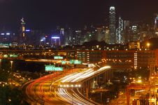 Free Traffic In Hong Kong At Night Royalty Free Stock Photo - 20665135