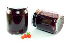 Free Jars Of Homemade Raspberry Jam Stock Images - 20665954