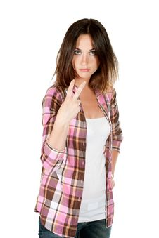 Free Young Woman Making Gesture Stock Images - 20666614